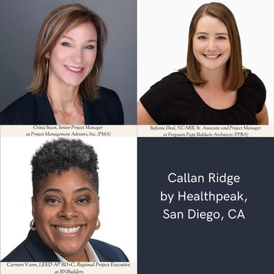 Female leaders: Senior Project Manager Crista Swan from Project Management Advisors, Inc. (PMA); Sr. Associate & Project Manager Stefanie Deal, NCARB from Ferguson Pape Baldwin Architects (FPBA); and Regional Project Executive Carmen Vann, LEED AP BD+C from BNBuilders, have united for Healthpeak's Callan Ridge project in San Diego, CA.
