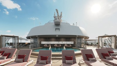 On the new Celebrity Beyond, The Retreat is an exclusive resort space for suite guests designed by Kelly Hoppen CBE. The new two-level Retreat Sundeck offers secluded cabanas, chic seating, water features, the Retreat Bar and more all to help guests make the most of the ocean air.