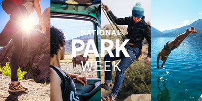 Image courtesy of National Park Foundation. Image description: A collage image of four people in parks. One person is walking, one person is looking out the car window at wildlife, one person is rock climbing, and one person is diving into the water.