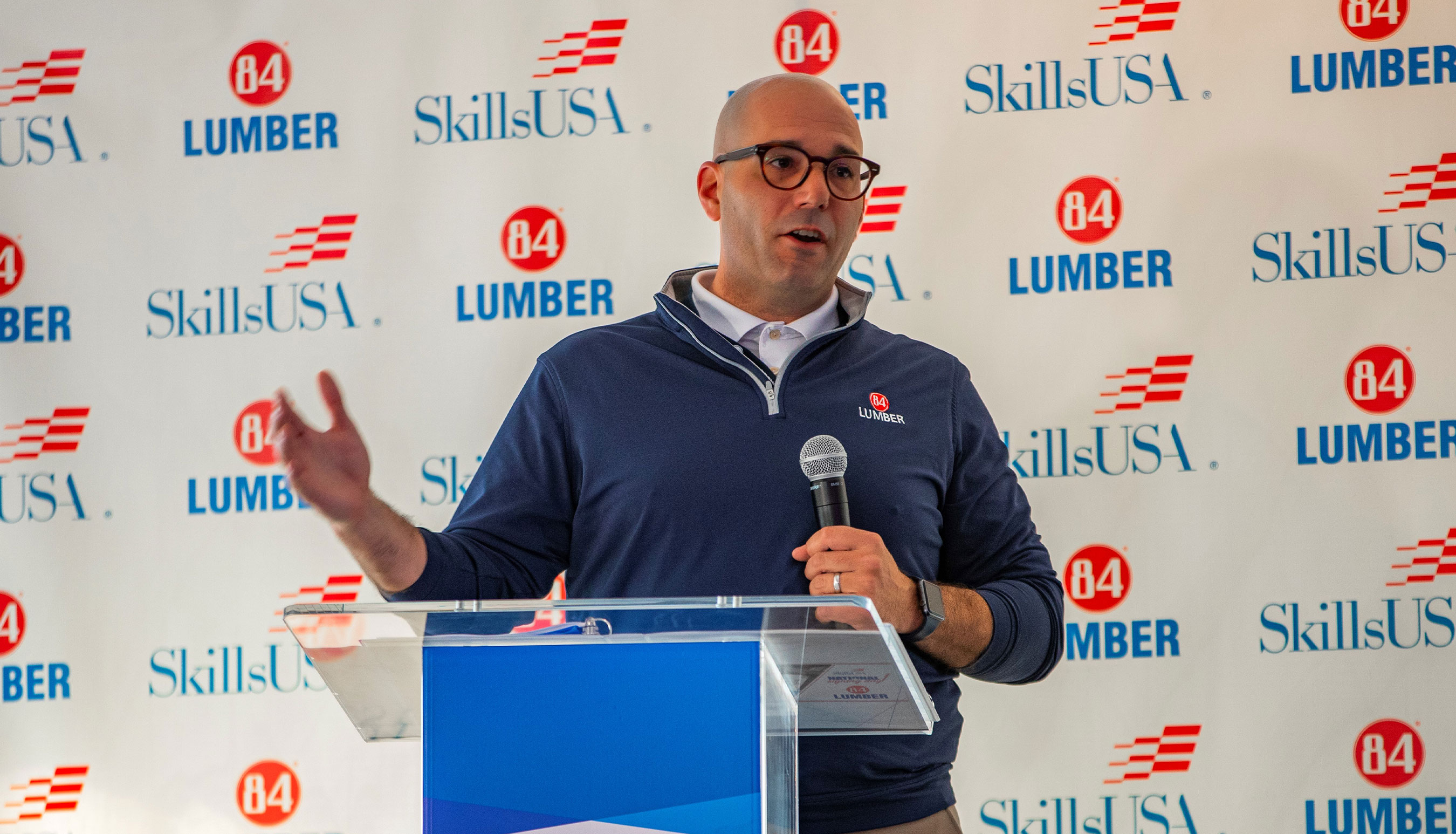 Ken Kucera, VP of Manufacturing, speaks to job opportunities within the building industry at SkillsUSA National Signing Day Event in Pittsburgh, PA