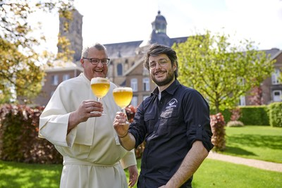 Pictured celebrating the opening of the new Grimbergen Abbey Brewery are Provisor and Abbey Brewer, Father Karel Stautemas and Master Brewer, Marc-Antoine Sochon (PRNewsfoto/Grimbergen)