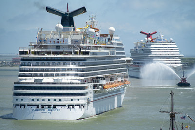 The Carnival Breeze and the the Carnival Vista return to the Port of Galveston on Sunday, May 2, 2021 with an escort by the Bay Houston Towing Company Tugboat Wesley A.