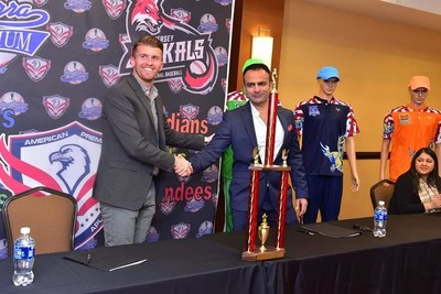 Jay Mir (Founder and CEO, American Premiere League) shaking hands with Gill Addeo (General Manager New Jersey Jackals) at the Historic Contract Signing Ceremony to host American Premiere League at the Yogi Berra Stadium New Jersey.
