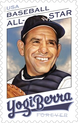 Baseball Legend Yogi Berra immortalized on U.S. Postal Service Forever stamp.