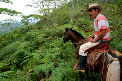 """Carara National Park in Costa Rica – man on horseback - """"Photo courtesy of Trees for All"""""""