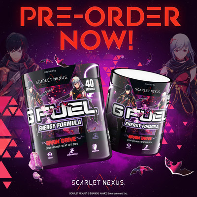 G FUEL — The Official Energy Drink of Esports® — and BANDAI NAMCO Entertainment Inc. created Brain Drive in celebration of BANDAI NAMCO's new action RPG, SCARLET NEXUS™. G FUEL Brain Drive tastes like an extrasensory infusion of pineapple and guava with a citrus twist. Pre-order your G FUEL Brain Drive now at gfuel.com and become an elite psionic warrior.
