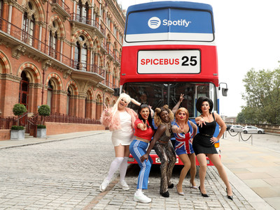 Drag Queens Kitty Scott-Claus, Ophelia Love, Baga Chipz, Vanity Milan, and Ella Vaday celebrate 25 years of the Spice Girls with Spotify's Spice Bus at St Pancras Renaissance Hotel on September 19, 2021, in London, England. (Photo by Lia Toby/Getty Images for Spotify)