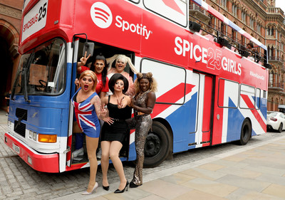 Drag Queens Baga Chipz, Ophelia Love, Kitty Scott-Claus, Ella Vaday, and Vanity Milan celebrate 25 years of the Spice Girls with Spotify's Spice Bus at St Pancras Renaissance Hotel on September 19, 2021, in London, England. (Photo by Lia Toby/Getty Images for Spotify)